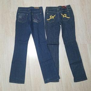 Roca Wear 5 Jeans Lot Metallic Embroidered Pocket